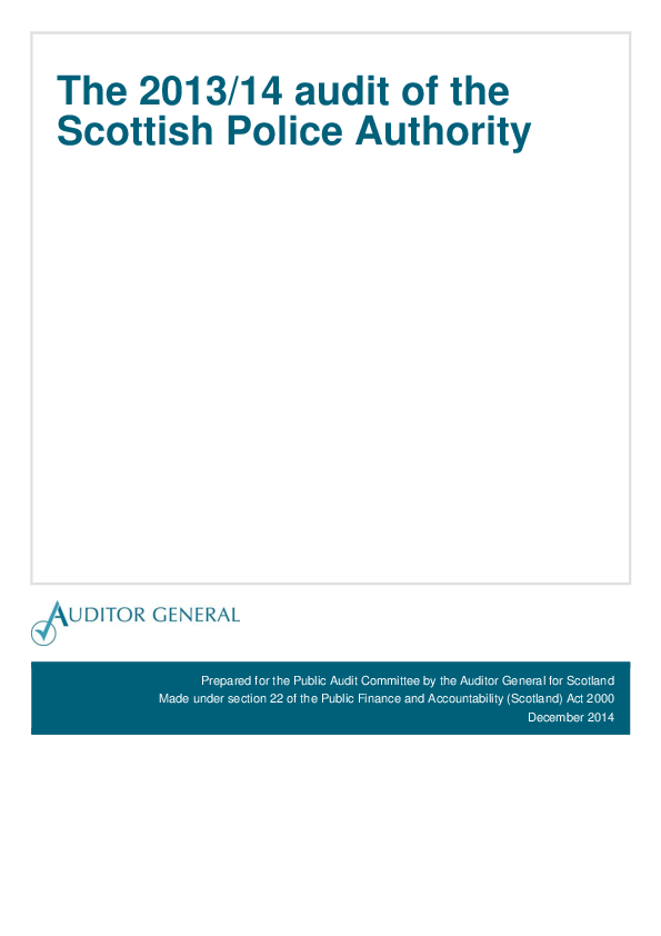 Report cover: The 2013/14 audit of the Scottish Police Authority