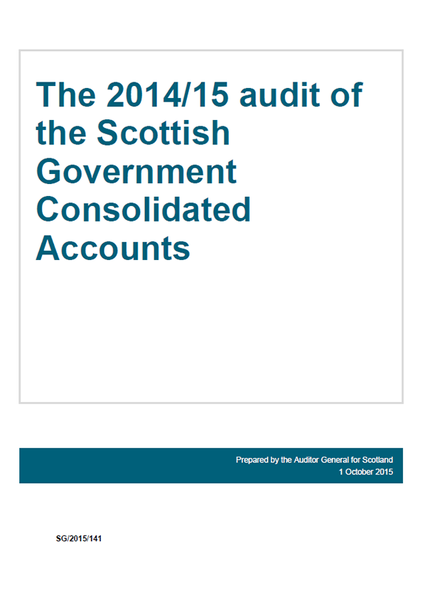 Report cover: The 2014/15 audit of the Scottish Government Consolidated Accounts