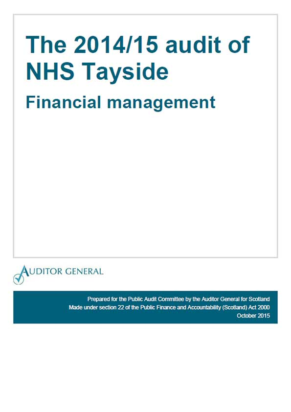 Report cover:  The 2014/15 audit of NHS Tayside: Financial management