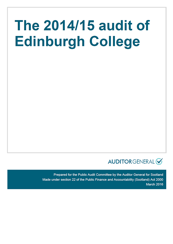 Report cover: The 2014/15 audit of Edinburgh College
