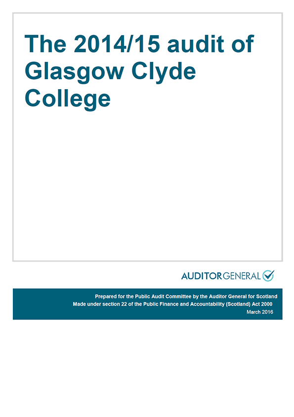 Report cover: The 2014/15 audit of Glasgow Clyde College