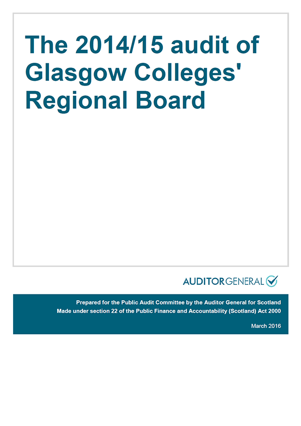 Report cover: The 2014/15 audit of Glasgow Colleges' Regional Board