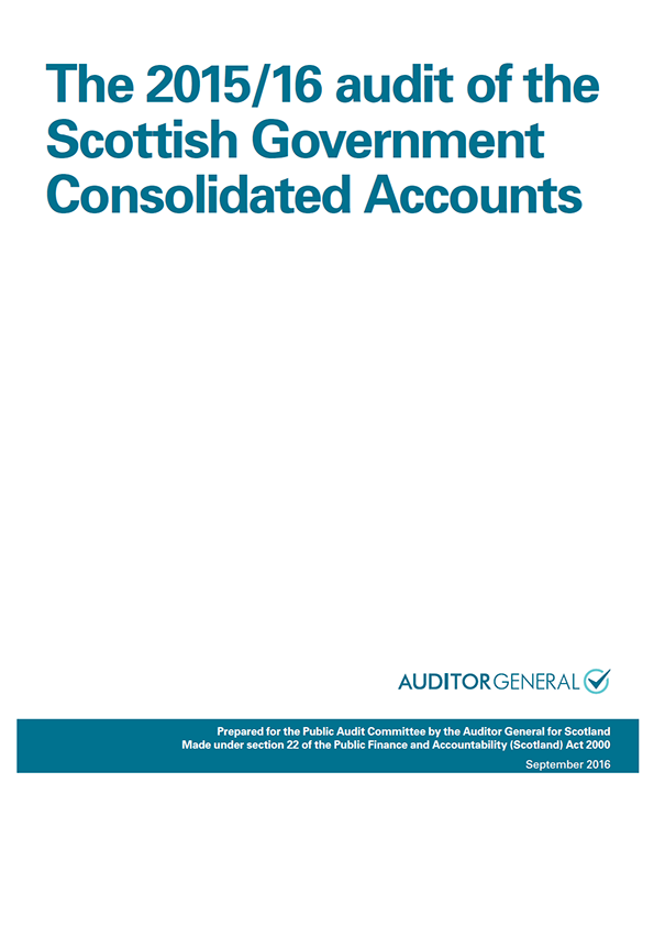 Report cover: The 2015/16 audit of the Scottish Government Consolidated Accounts