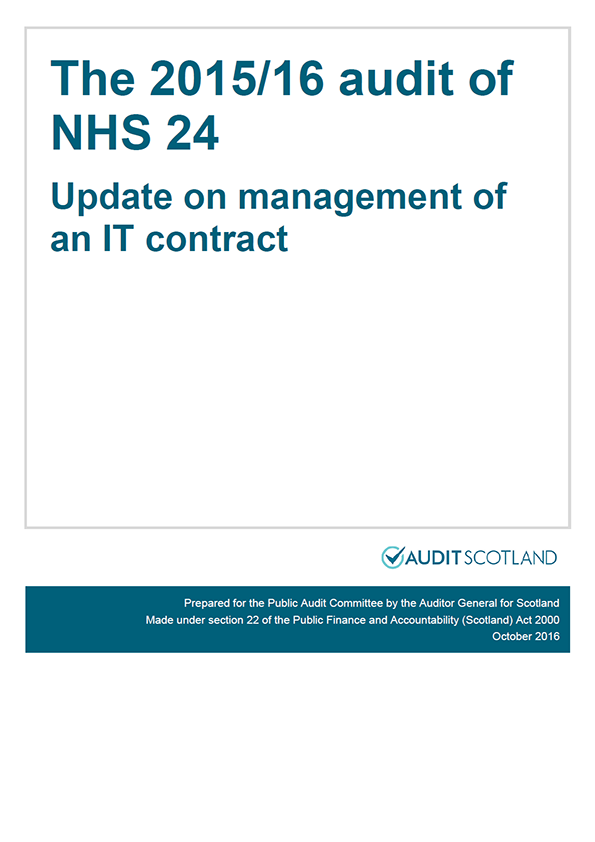 Report cover: The 2015/16 audit of NHS 24: Update on management of an IT contract
