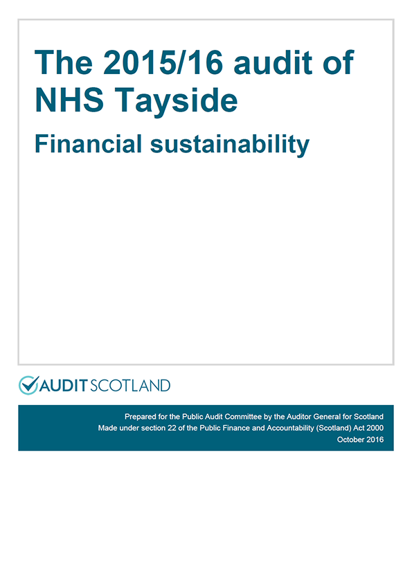 Report cover: The 2015/16 audit of NHS Tayside: Financial sustainability