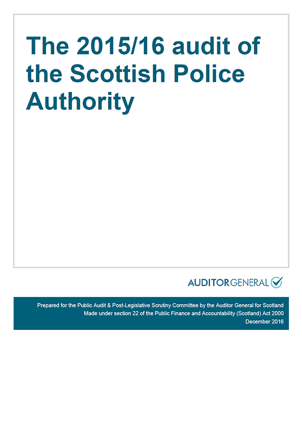 Report cover: The 2015/16 audit of the Scottish Police Authority