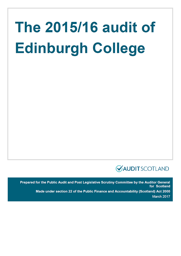 Report cover: The 2015/16 audit of Edinburgh College