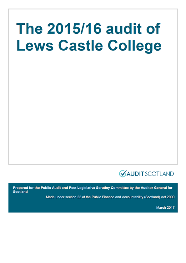 Report cover: The 2015/16 audit of Lews Castle College