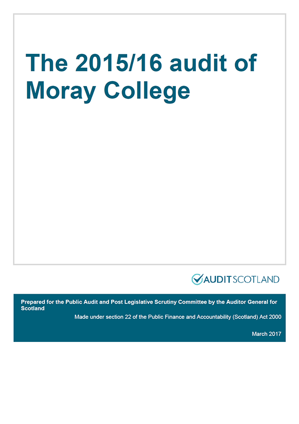 Report cover: The 2015/16 audit of Moray College