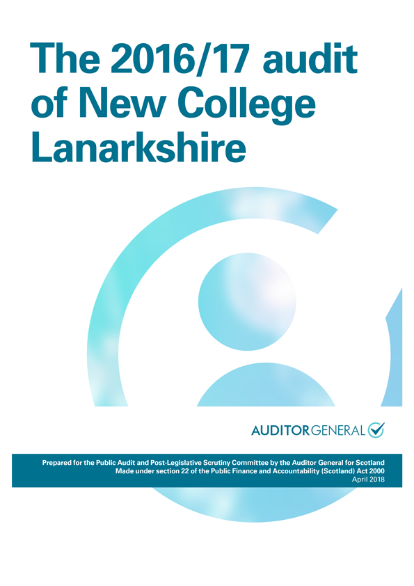 Report cover: The 2016/17 audit of New College Lanarkshire