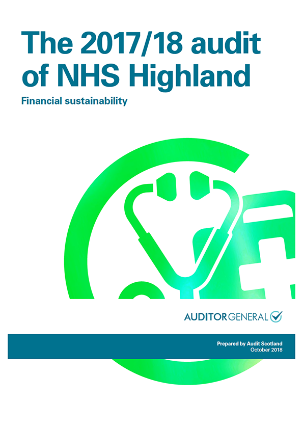 Report cover: The 2017/18 audit of NHS Highland: Financial sustainability