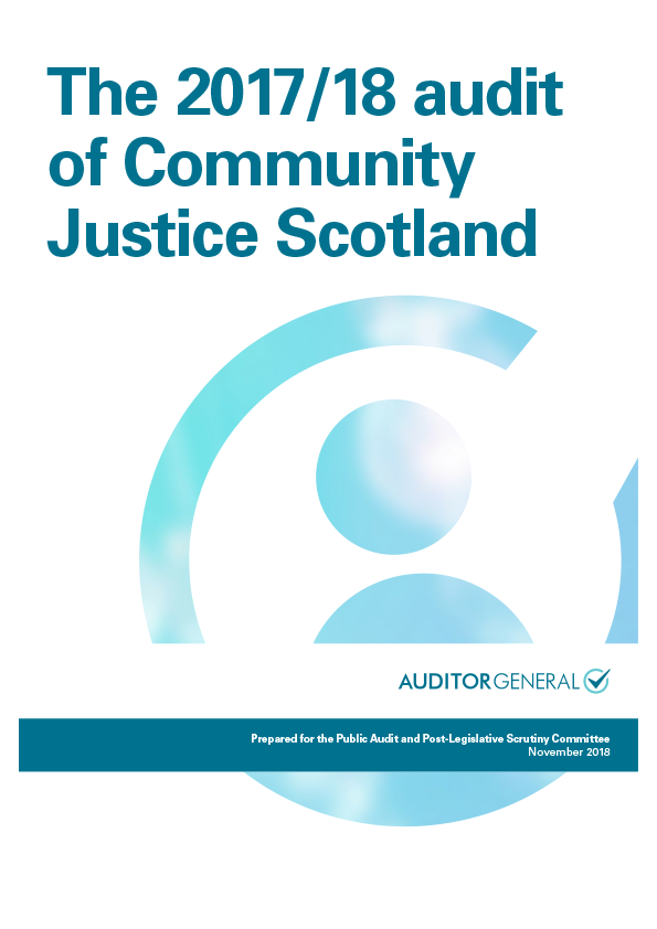 Report cover: The 2017/18 audit of Community Justice Scotland