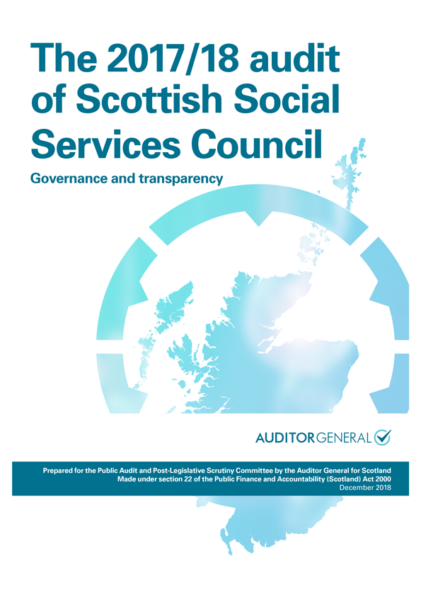Report cover: The 2017/18 audit of Scottish Social Services Council: Governance and transparency