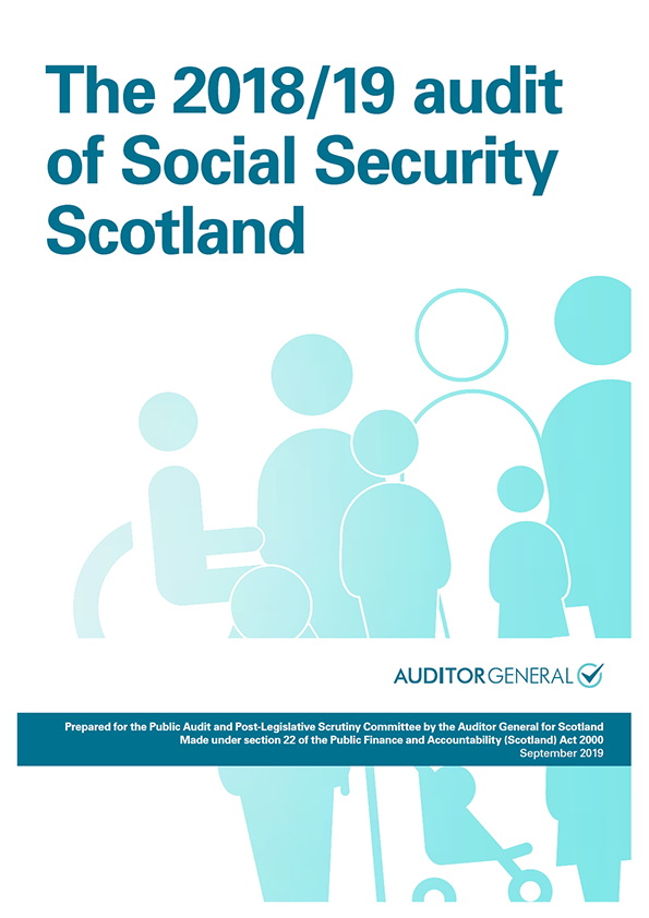 Report cover: The 2018/19 audit of Social Security Scotland