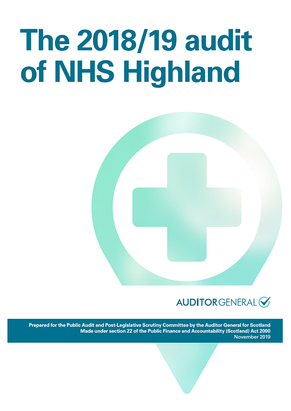 Report cover:  The 2018/19 audit of NHS Highland