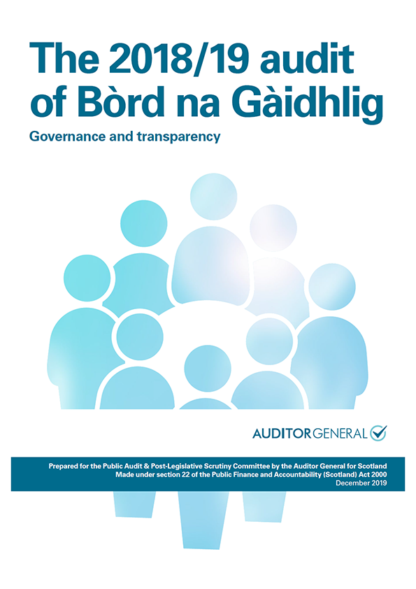 Report cover: The 2018/19 audit of Bòrd na Gàidhlig: Governance and transparency