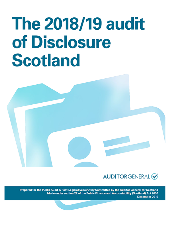 Report cover: The 2018/19 audit of Disclosure Scotland