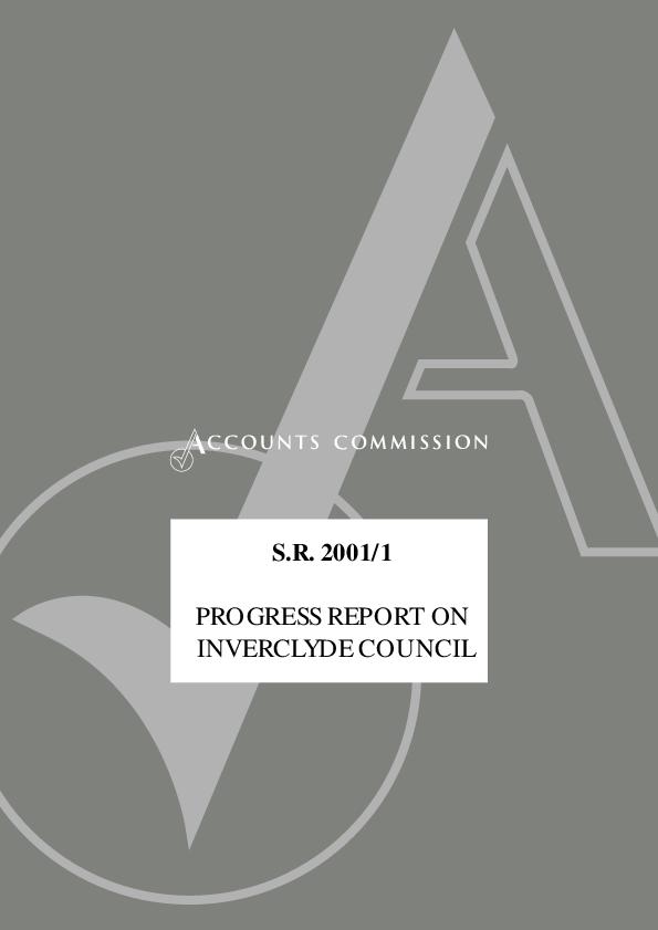 Report cover: Progress report on Inverclyde Council - SR 2001/1