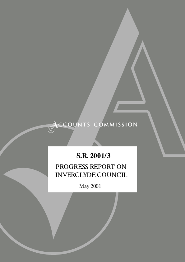 Report cover: Progress report on Inverclyde Council - S.R. 2001/3