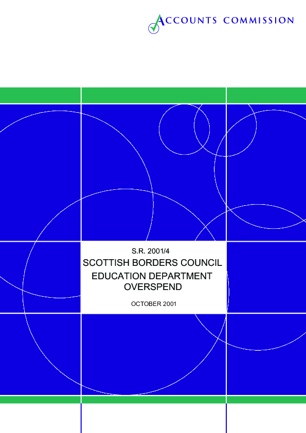 Report cover: Accounts Commission's findings on education department overspend at Scottish Borders Council