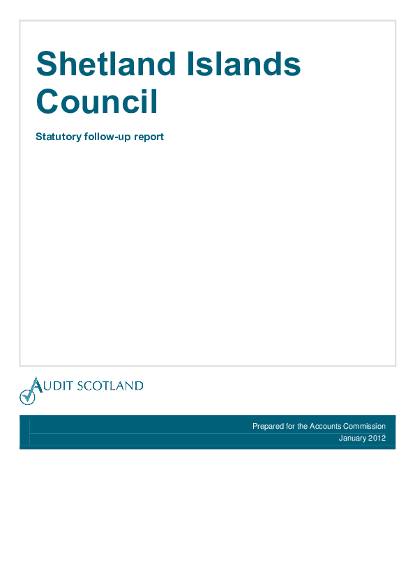 Report cover: Shetland Islands Council - Statutory follow-up report 2012