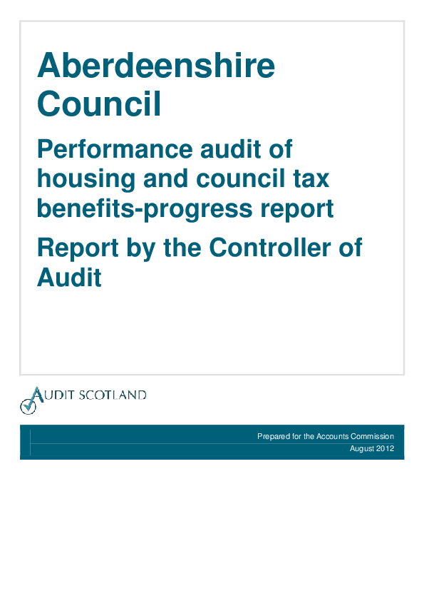 Report cover: Aberdeenshire Council housing and council tax benefits: Progress report