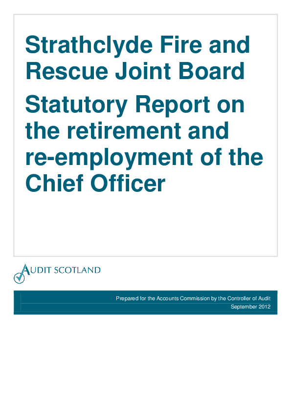 Report cover: Strathclyde Fire and Rescue Joint Board