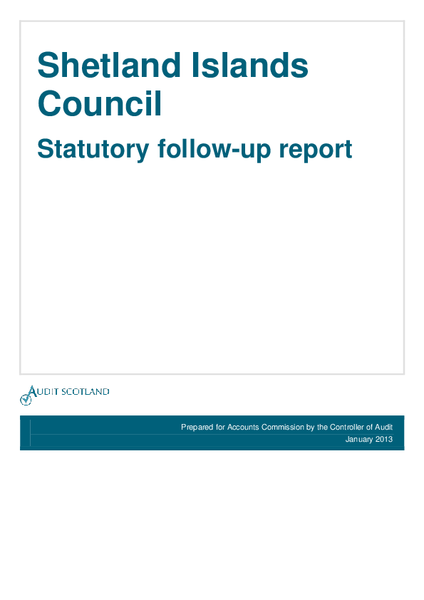 Report cover: Shetland Islands Council - Statutory follow-up report