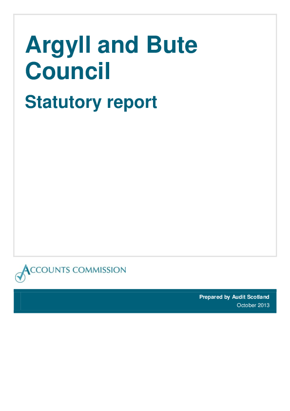 Report cover: Argyll & Bute Council Statutory report 2013