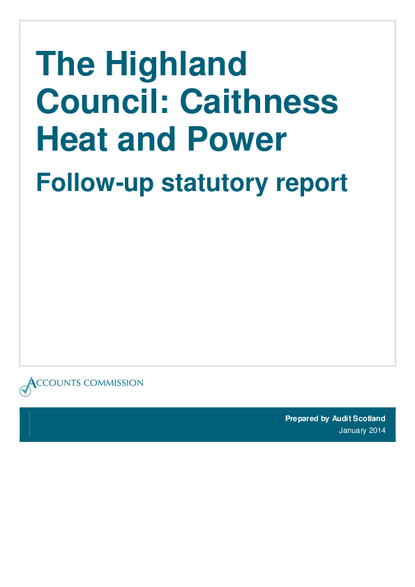 Report cover: The Highland Council: Caithness Heat and Power: Follow-up statutory report