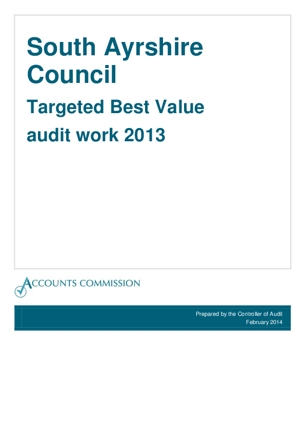 Report cover: South Ayrshire Council: Targeted Best Value
