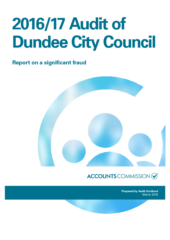 2016/17 audit of Dundee City Council: Report on a significant fraud