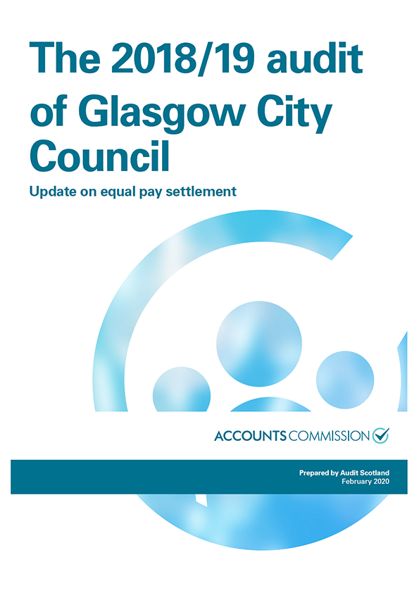 Report cover: The 2018/19 audit of Glasgow City Council: Update on equal pay settlement