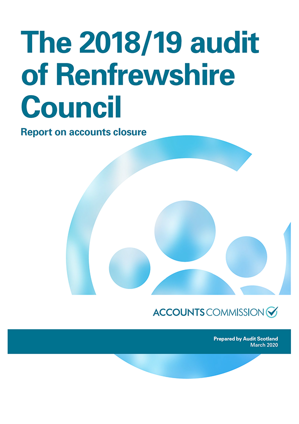 Report cover: The 2018/19 audit of Renfrewshire Council: Report on accounts closure