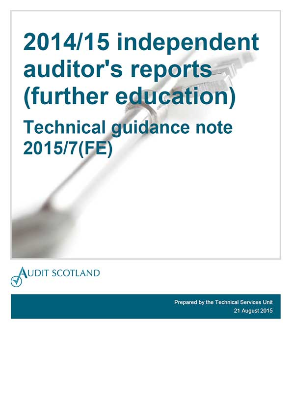 View Technical guidance note: 2014/15 independent auditor's reports (further education)